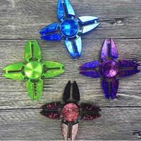 4 colores de aleación de aluminio de cuatro esquinas cielo estrellado cielo manos girador dedos en espiral giro torqbar Fidget Spinner CCA5949 120pcs