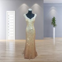 Cheap 2017 Sheer Back Gold Sequined Prom Party Dresses Long ...