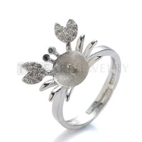9RM42 Bijoux Teboer 5pcs / LOT Crab Ring Base Cubic Zirconia 925 Sterling Silver Pearl Ring Mounting