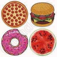 4 diseños ronda Donut Pizza hamburguesa toallas de sandía India Mandala playa tiro tapiz Hippy Boho toalla de playa Yoga Mat CCA5625 20pcs