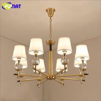 Luxury Copper Pendant Lamp Brief Lustre Metal Lamp Fabric Sh...