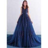 Luxury Ball Gown Long Evening Dress Navy Blue Lace Appliques...
