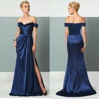 Modern Navy Blue Side Split Sheath Evening Dresses Custom Ma...