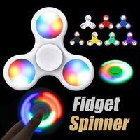 Fidget Spinner à double face LED Spinner à main EDC Gyro 2-3 Min à grande vitesse avec interrupteur en poudre Anxiety Toy Pressure Reducer with Package