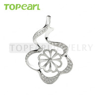 9PM162 Teboer Jewelry 3pcs / LOT Sterling 925 Silver Zircon Pendant Blank pour DIY Pearl Jewelry Findings