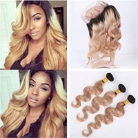 1B 27 Honey Blonde Ombre Brazilian Virgin Hair Weaves With 3...