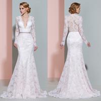 Deep V- Neck Illusion Bodice Mermaid Wedding Dresses 2017 Mod...