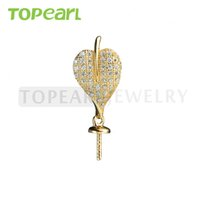 9PM157 Teboer Jewelry 5pcs / LOT Cubic Zirconia Heart Pearl Drop Pendentif Blanks Gold Plated 925 Sterling Silver Mountings