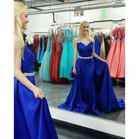 2016 Sexy Потрясающие Vestidos Royal Blue Sweetheart блестки бисером пояса атласная Над юбки Поезд знаменитости платья вечера Dhyz 01