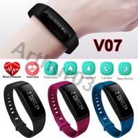 Pressão Arterial SmartBand V07 Bracelete Smart Band Monitor de freqüência cardíaca Wireless Fitness Tracker Pedômetro Bluetooth Wristband Assista Smartband