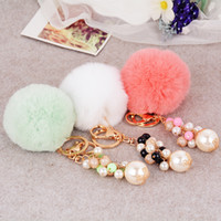 Lovely 8CM Rabbit Fur Ball Plush Keychain Round Ball Fluffy ...