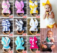 INS Baby Chevron Zigzag Teethers 28Colors Círculo de madeira natural com tecido de orelha de coelho Tecidos recém-nascidos Prática Brinquedos Treinamento Handmade Ring