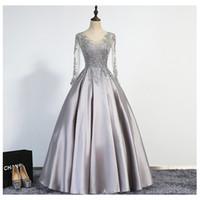 Elegant Silver Evening Dresses 2017 A- Line Scoop Illusion La...