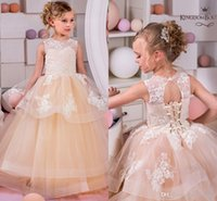 Champagne Lace 2017 Flower Girl Dresses Tulle Ball Gowns Bab...