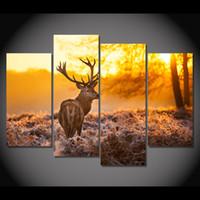 4 панели холст искусство холст живопись северный олень Wildland Sunset HD печатный стенной художественный плакат Home Decor изображение для гостиной XA125C
