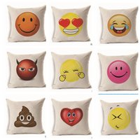 Emoji Pillow Case Square Pillowslip Fiberflax Подушка Обложка Любовь Улыбка Гнев Pattern Подушка Home Decor Диван Подушка KKA1841