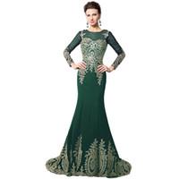 207 Мусульманская Вечерние платья Длинные высокого качества Золото Аппликации Русалка мама невесты платье африканского официально платье Кафтан XU040