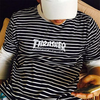 Thrasher Flame Bordado Manga Curta T-shirt Homens Harajuku Moda Striped Tees 2017 Novo Chegar T-shirt Masculino 4 Colors Man
