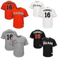 Youth Miami Marlins #16 Jose Fernandez Majestic White Orange...
