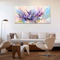 Красивые цвета фиолетовый и розовый, чисто Ручная роспись Современные декора стены абстрактного искусства картины маслом на качество Canvas.Multi размеры Ab025