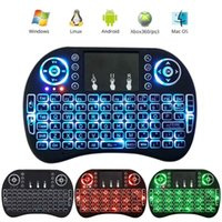 Retroiluminado 2.4GHz teclado sem fio Air Mouse Touchpad Handheld Controle Remoto Backlight para Android TV BOX PC Smart TV Preto V2818