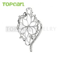 9PM164 Teboer Jewelry 3pcs / LOT Coupe creuse Design 925 Sterling Silver Big Pendant Pearl Mount Setting