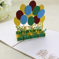 3D pop up Happy birthday cards with envelop Cartoon balloon ...