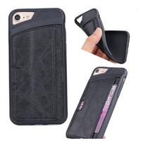 Pour iphone 7 en cuir TPU anti-chocs avec des cartes fentes Pockets Phone Case Gel Housse en silicone souple pour iphone6 6 Plus 6S 5 SE