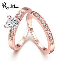 Anillos Mujer Wedding Jewelry 2pcs Set Luxury Rose Gold Silv...