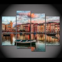 Холст Живопись 4 шт Холст искусства Лодки Орландо зданий HD напечатаны Home Decor стены искусства плакат Изображение для гостиной XA019C