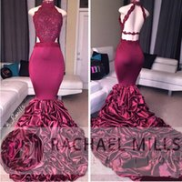 2017 New Mermaid Burgundy Long Prom Dresses With Lace Appliq...