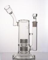 Mobius design Bongs en verre dab rig Double Matrice stéréo Perc avec tuyau d'eau avec joint de 18 mm