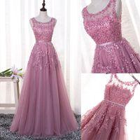 Elegant Pink Long Prom Dresses 2017 Real Photos A- Line Sheer...
