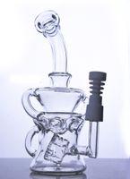 Cyclone Helix bongs verre double recycler verre bubber tube d'eau concentré plate-formes pétrolières avec clous en céramique joint de 14 mm
