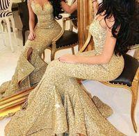 2017 Gold бретельках драпированные оборки официально платье вечера Милая Sequined Mermaid платья выпускного вечера знаменитости 2016 африканских мантий qw11