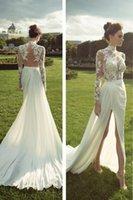 2017 Venda quente FUll Lace uma linha de vestidos de noiva de casamento Sheer Andar de comprimento Vestidos de casamento Vestidos de noiva Vestido de Festa formal Cooktail