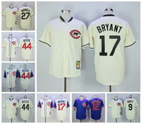 Throwback Chicago Cubs # 17 Kris Bryant 44 Anthony Rizzo 9 Javier Baez 27 Addison Russell à base de maillots de baseball