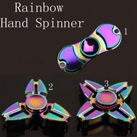 Rainbow Fidget Spinner Colorful EDC Gyro Toys Ослепительная ручная прялка Неподвижный алюминиевый непоседеватель HandSpinner 3 стиля OOA1538
