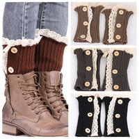 Women Boot Cuff Leg Warmer New Short Button Down Lace Socks ...