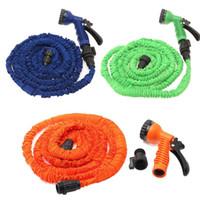 Stocks américains! Tuyau flexible d'eau de jardin extensible avec buse de pulvérisation Tête 25 50 75 100 FT Multicolore Orange Vert Bleu Livraison gratuite