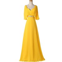 Yellow 2016 Evening Gowns Long Chiffon Evening Dresses 1 2 S...