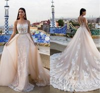 2017 Modest Mermaid Lace Vestidos de casamento com trem destacável Milla Nova 2017 Appliqued Sexy decote transparente Beads trompete Bridal Gowns