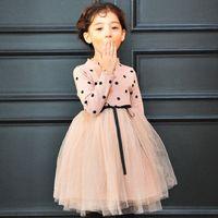 2017 Girl Peach Pink Polka Dot Birthday Dress Toddler Fashio...