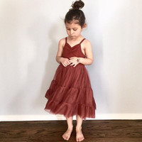 Girl wine red harness princess skirt in Summer with pp bag a...