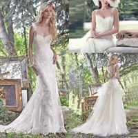 Bohemian Boho Full Lace Sheer Country Wedding Dresses Bridal...