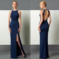 Sexy Side Split Open Back Sheath Evening Dresses Custom Made...