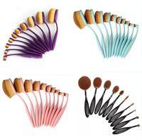 10 pcs professionnel souple brosse à dents ovale pinceaux de maquillage ensembles pinceaux de fondation crème contour poudre blush concealer brosse outils de beauté