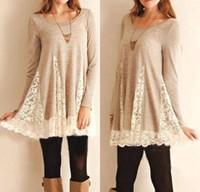 Hot Selling Casual T-shirts Robes pour les femmes Pretty plissé dentelle Blouse manches longues Knit Top avec robe de dentelle S M L XL CK1029