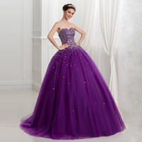 Luxury Purple Plus Size Quinceanera Dresses Ball Gown Crysta...