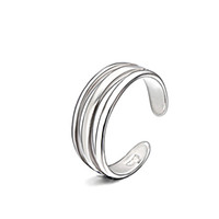 Silver Rings Fashion Jewerly Ouverture ajustable Three Layer Nail Rings pour hommes et femmes Celebrity RS03888